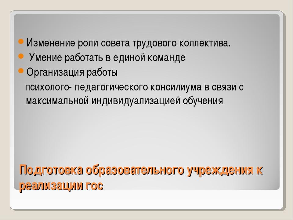 Подготовка образовательного учреждения к реализации гос Изменение роли совета...