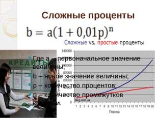 Сложные проценты Где a – первоначальное значение величины; b – новое значени