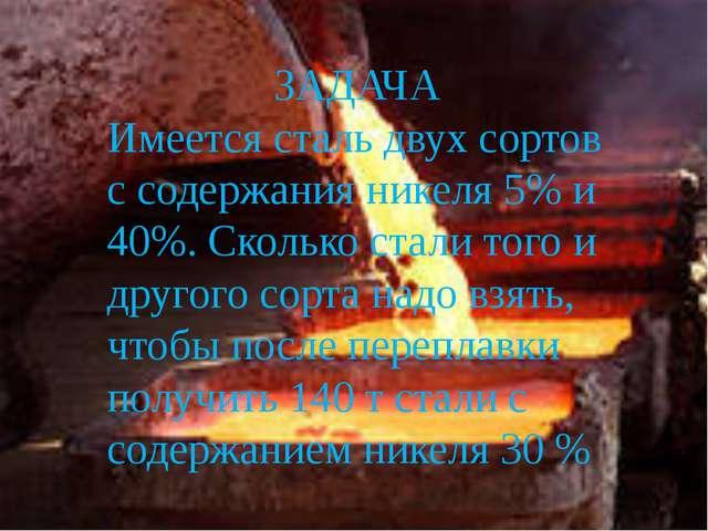 ЗАДАЧА Имеется сталь двух сортов с содержания никеля 5% и 40%. Сколько стали...