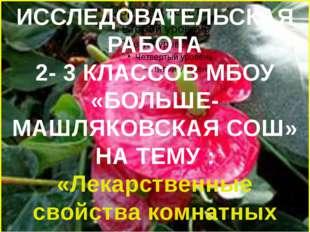 ИССЛЕДОВАТЕЛЬСКАЯ РАБОТА 2- 3 КЛАССОВ МБОУ «БОЛЬШЕ-МАШЛЯКОВСКАЯ СОШ» НА ТЕМУ
