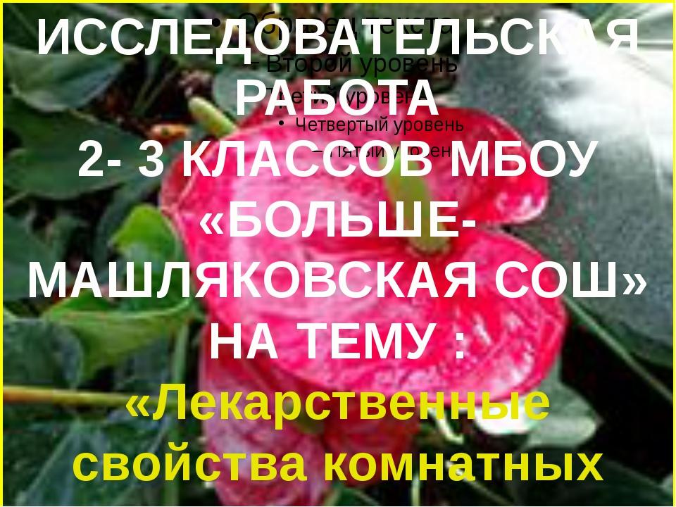 ИССЛЕДОВАТЕЛЬСКАЯ РАБОТА 2- 3 КЛАССОВ МБОУ «БОЛЬШЕ-МАШЛЯКОВСКАЯ СОШ» НА ТЕМУ...