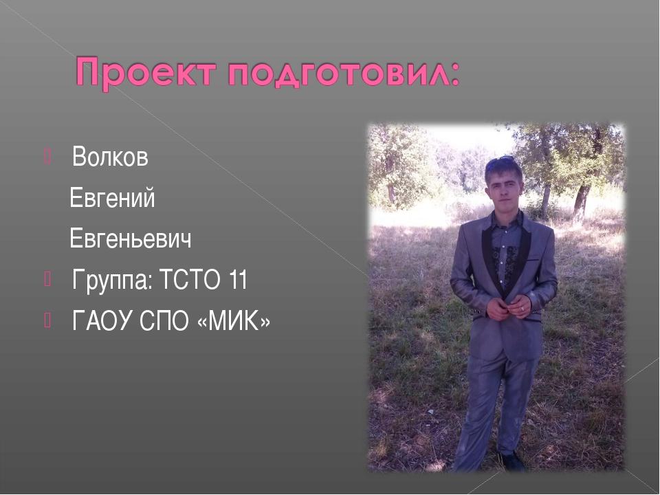 Волков Евгений Евгеньевич Группа: ТСТО 11 ГАОУ СПО «МИК»