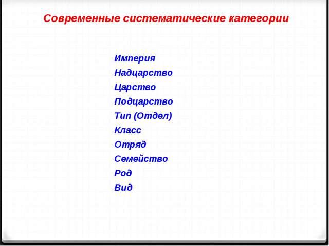 Современные систематические категории Империя Надцарство Царство Подцарство Т...