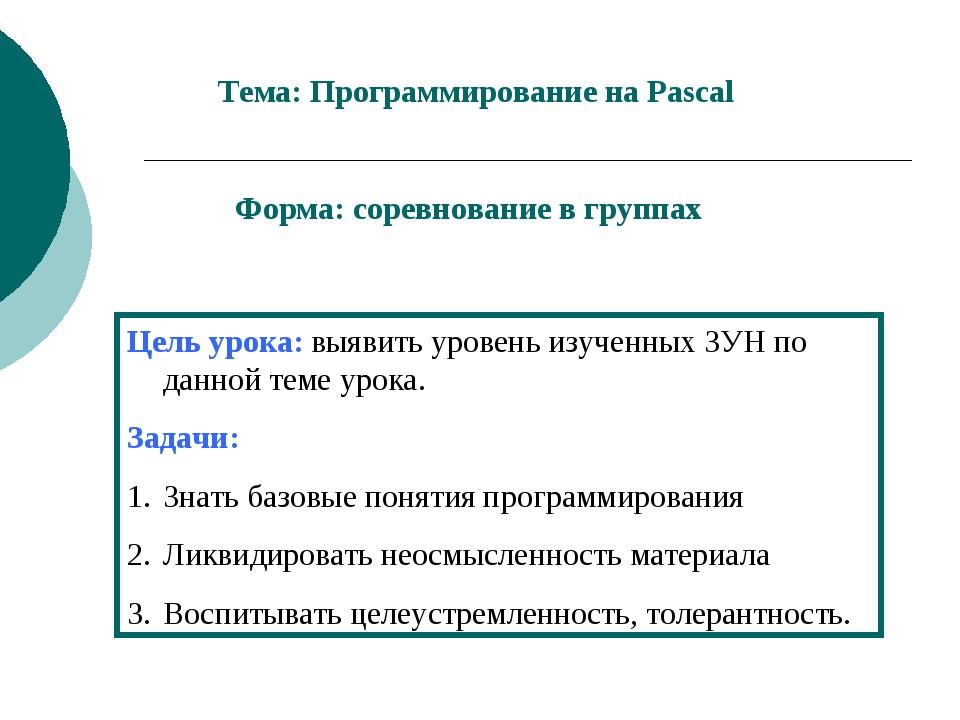 Тема: Программирование на Pascal Форма: соревнование в группах Цель урока: вы...
