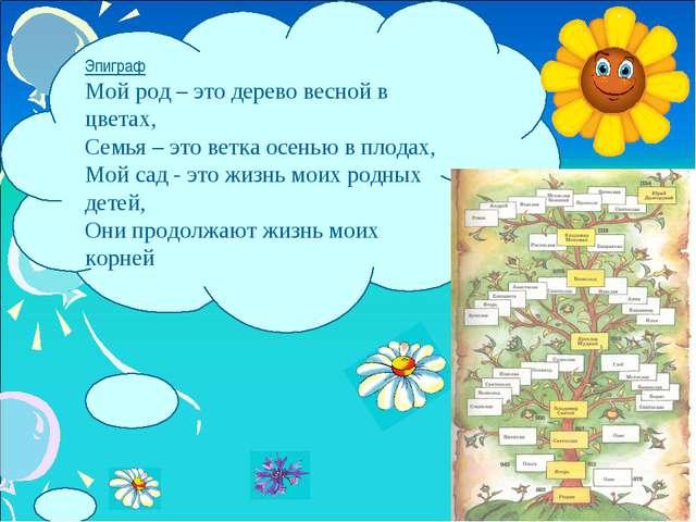 Эпиграф Мой род – это дерево весной в цветах, Семья – это ветка осенью в плод...