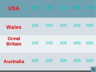 USA 100 200 300 400 500 Wales 100 200 300 400 500 Great Britain 1