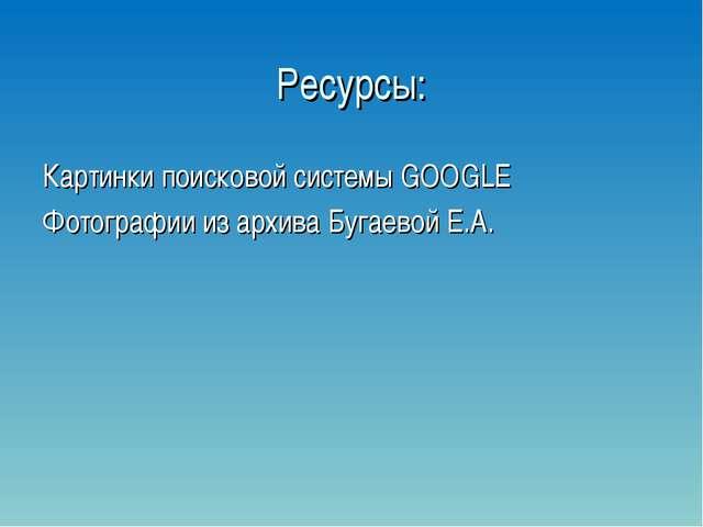 Ресурсы: Картинки поисковой системы GOOGLE Фотографии из архива Бугаевой Е.А.