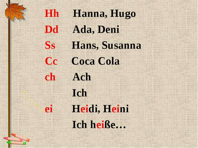 Hh Hanna, Hugo Dd Ada, Deni Ss Hans, Susanna Cc Coca Cola ch Ach Ich ei Heidi...