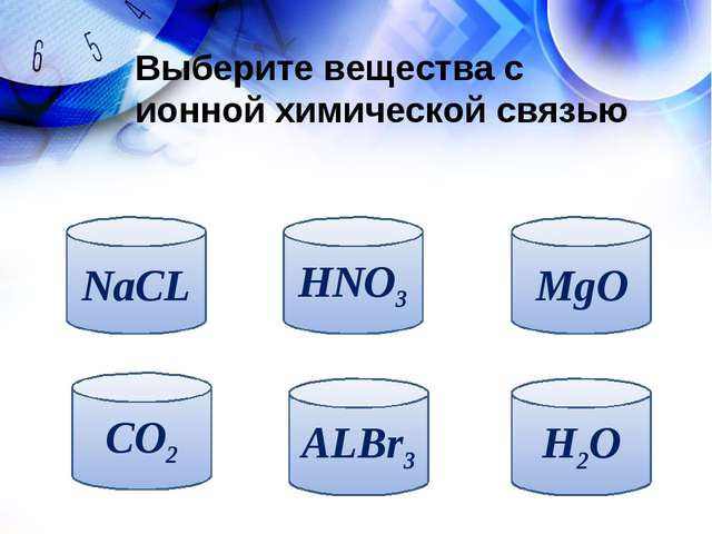 Выберите вещества с ионной химической связью NaCL CO2 ALBr3 H2O MgO HNO3