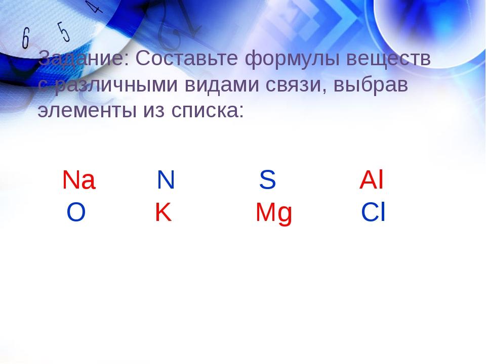 Задание: Составьте формулы веществ с различными видами связи, выбрав элементы...