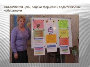 Объявляются цели, задачи творческой педагогической лаборатории