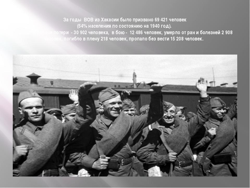 За годы ВОВ из Хакасии было призвано 69 421 человек (54% населения по состоя...