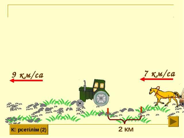 9 км/сағ 7 км/сағ Көрсетілім (2) 2 км