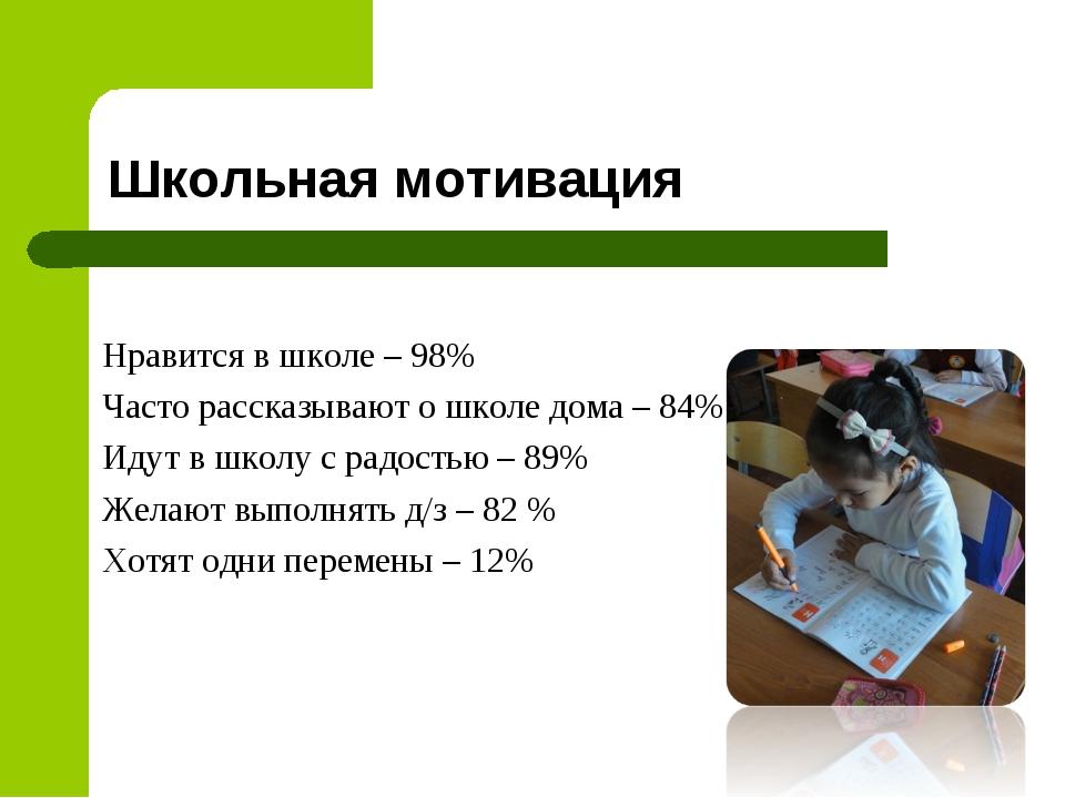 Школьная мотивация Нравится в школе – 98% Часто рассказывают о школе дома – 8...