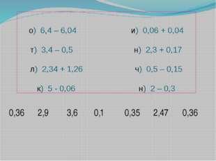 о) 6,4 – 6,04 и) 0,06 + 0,04 т) 3,4 – 0,5 н) 2,3 + 0,17 л) 2,34 + 1,26 ч) 0,5