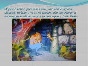 Морской конек рассказал нам, что голос украла Морская Ведьма , но он не знает