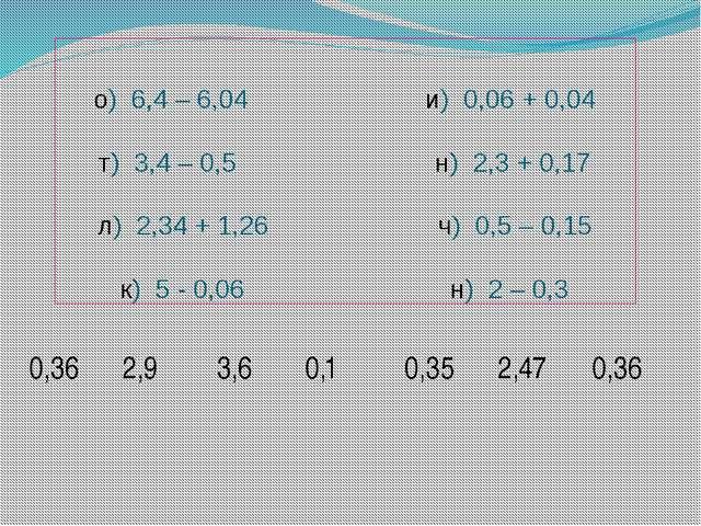о) 6,4 – 6,04 и) 0,06 + 0,04 т) 3,4 – 0,5 н) 2,3 + 0,17 л) 2,34 + 1,26 ч) 0,5...