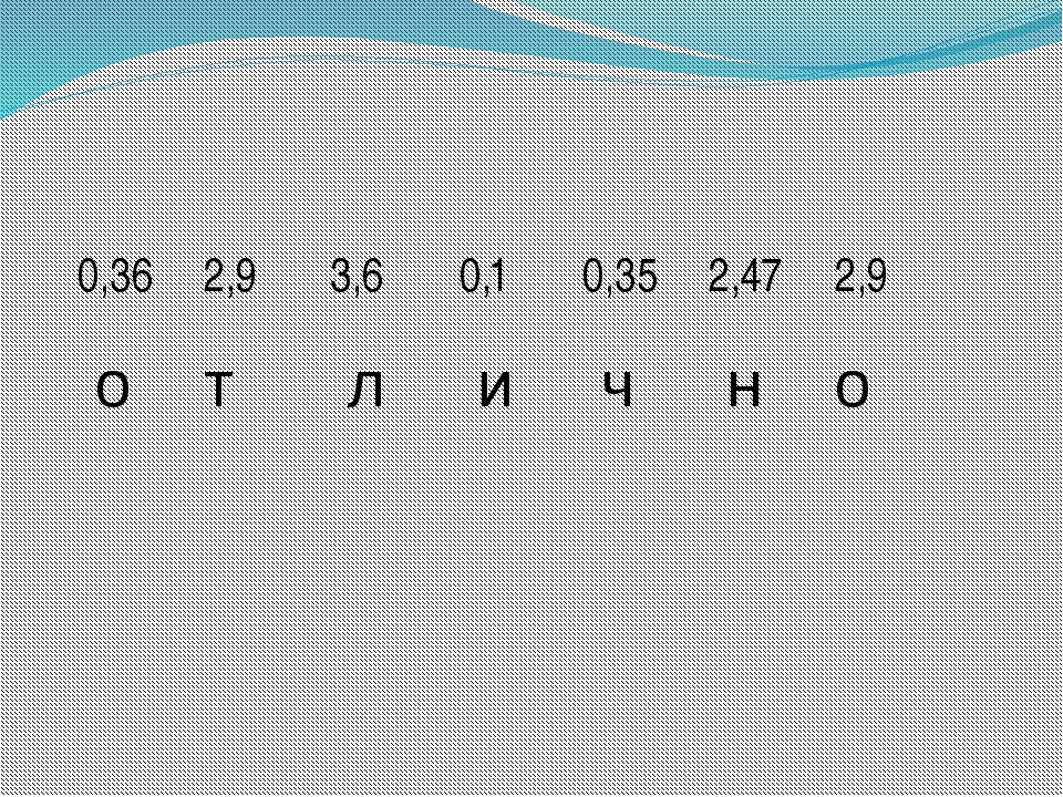 0,36 2,9 3,6 0,1 0,35 2,47 2,9 о т л и ч н о