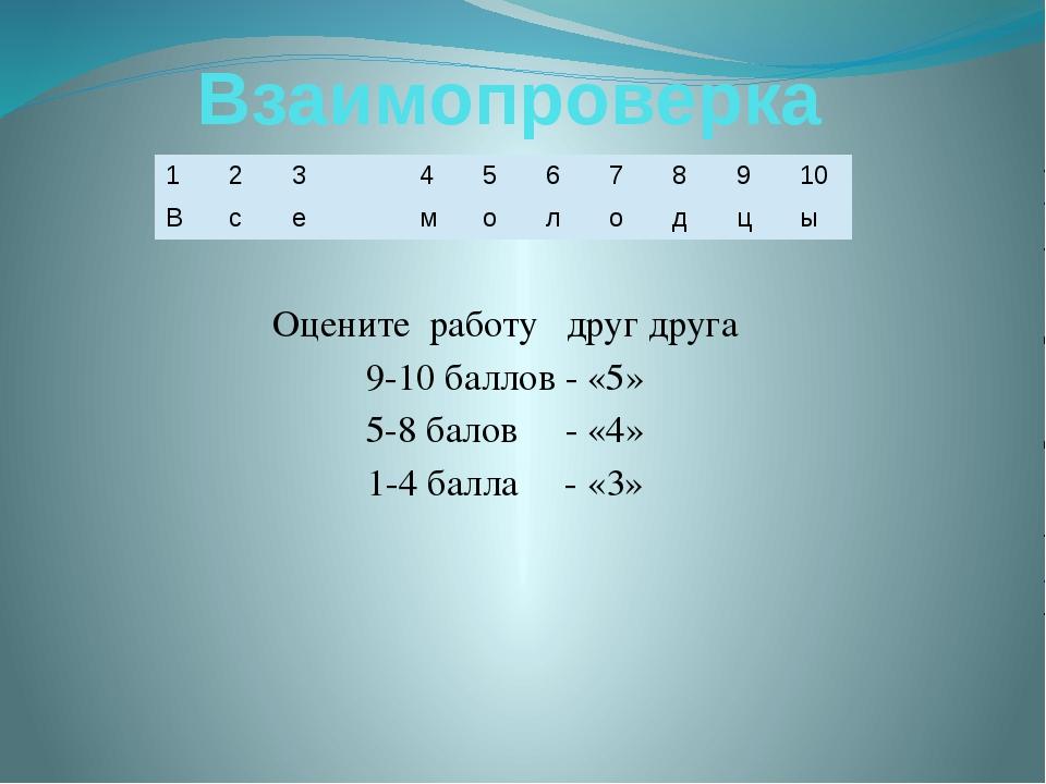 Взаимопроверка Оцените работу друг друга 9-10 баллов - «5» 5-8 балов - «4» 1-...