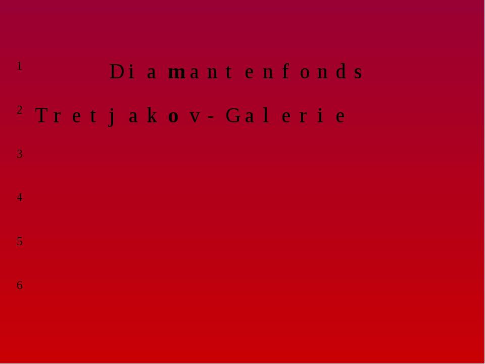 1Diamantenfonds 2Tretjakov-Galerie 3...