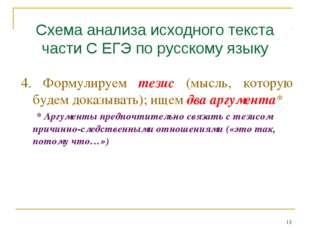 Схема анализа исходного текста части С ЕГЭ по русскому языку 4. Формулируем т