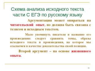 Схема анализа исходного текста части С ЕГЭ по русскому языку Аргументация мож
