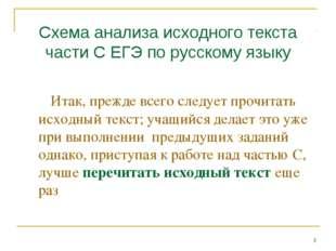 Схема анализа исходного текста части С ЕГЭ по русскому языку Итак, прежде все