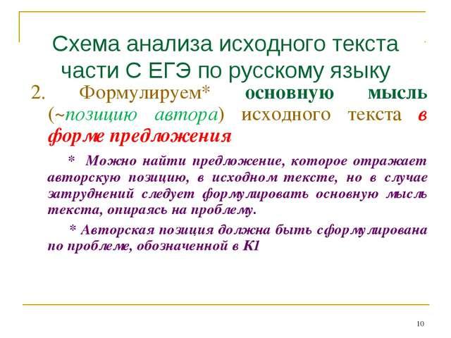 Схема анализа исходного текста части С ЕГЭ по русскому языку 2. Формулируем*...