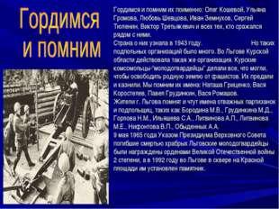 Гордимся и помним их поименно: Олег Кошевой, Ульяна Громова, Любовь Шевцова,