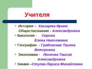 Учителя История – Хвыщева Ирина Обществознание - Александровна Биология - Се