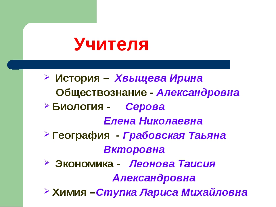 Учителя История – Хвыщева Ирина Обществознание - Александровна Биология - Се...