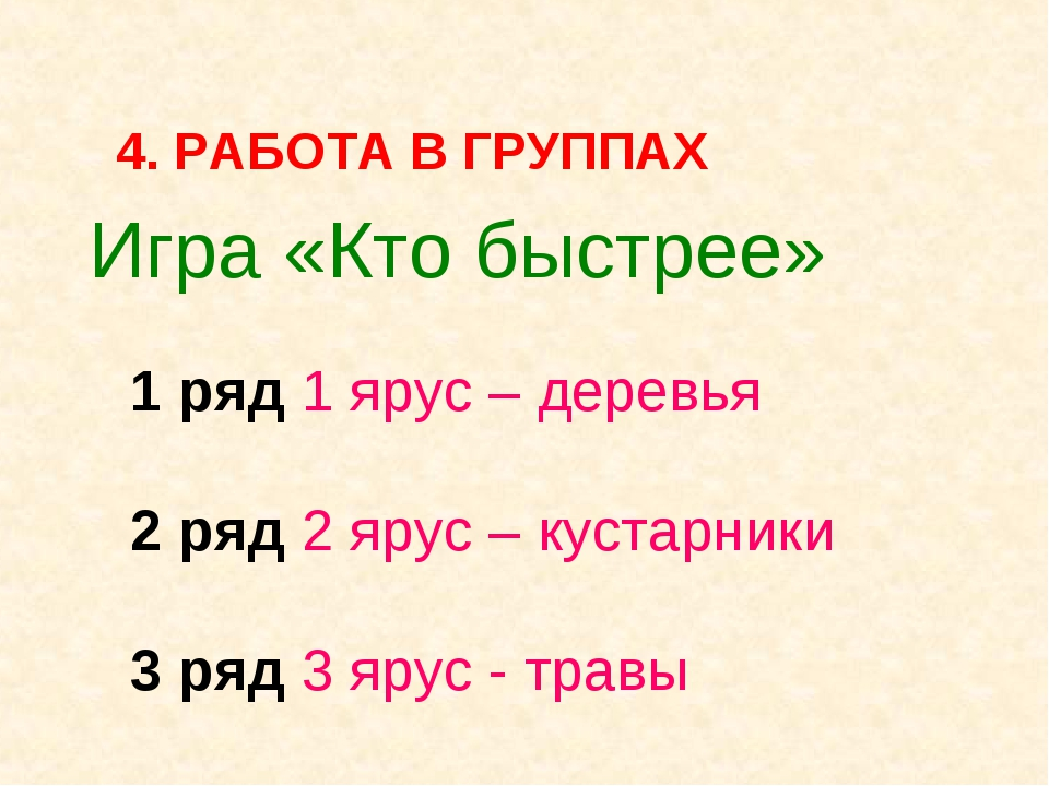 Игра «Кто быстрее» 1 ряд 1 ярус – деревья 2 ряд 2 ярус – кустарники 3 ряд 3...
