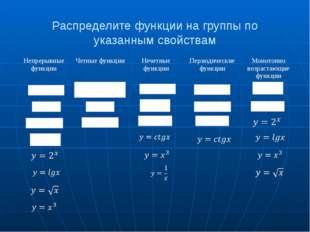 Распределите функции на группы по указанным свойствам