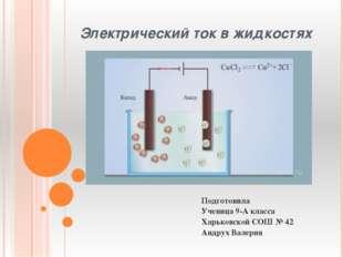 Электрический ток в жидкостях Подготовила Ученица 9-А класса Харьковской СОШ