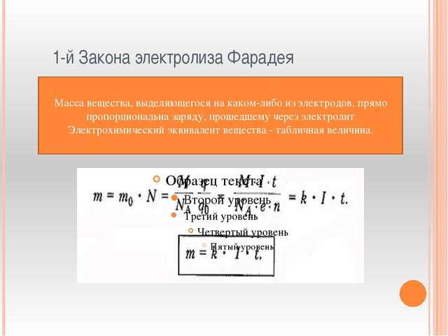 1-й Закона электролиза Фарадея Масса вещества, выделяющегося на каком-либо и...