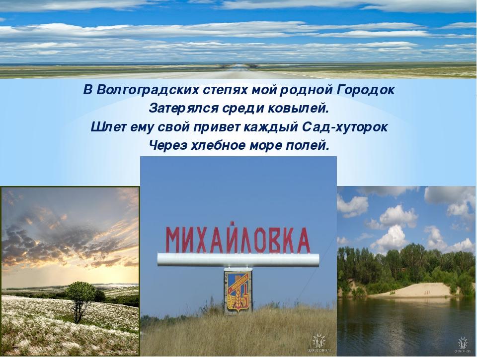 В Волгоградских степях мой родной Городок Затерялся среди ковылей. Шлет ему с...