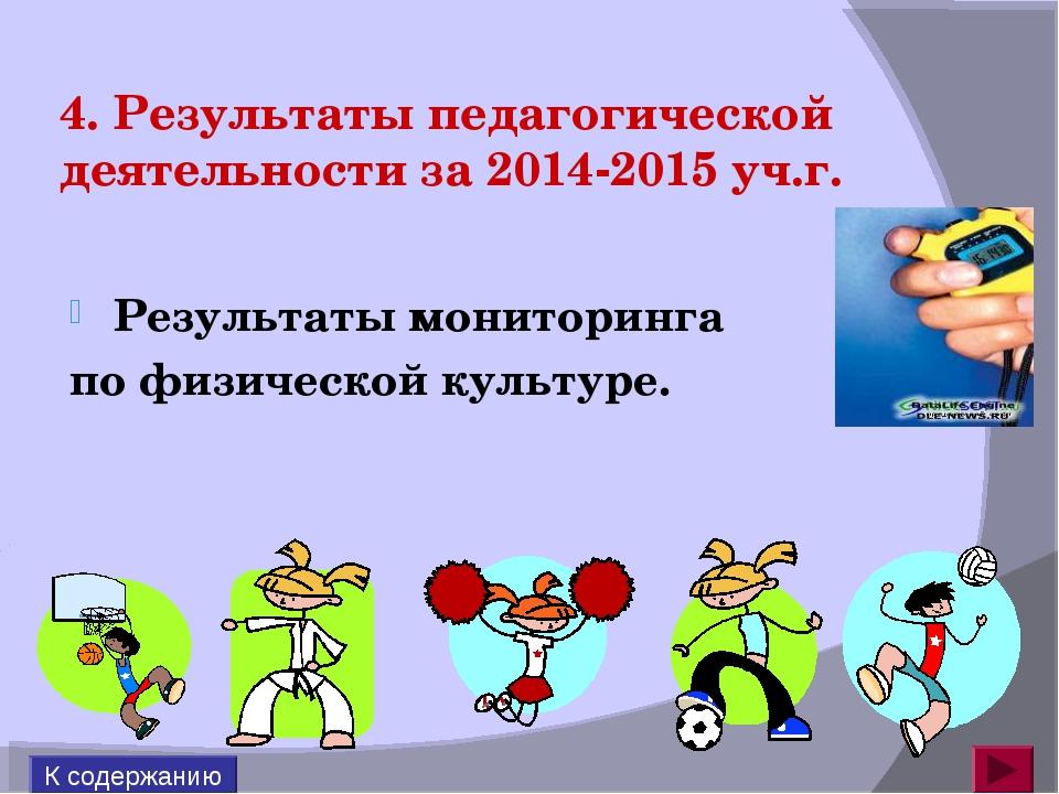 4. Результаты педагогической деятельности за 2014-2015 уч.г. Результаты монит...