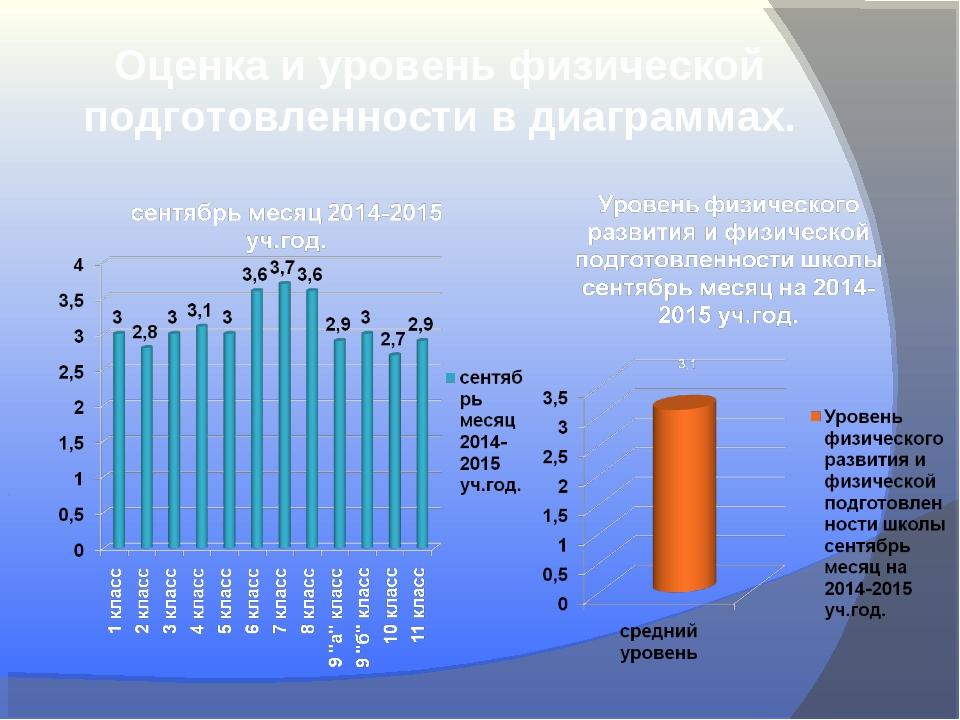 Оценка и уровень физической подготовленности в диаграммах.