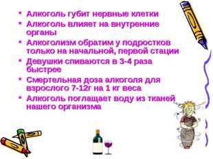 Алкоголь губит нервные клетки Алкоголь влияет на внутренние органы Алкоголизм