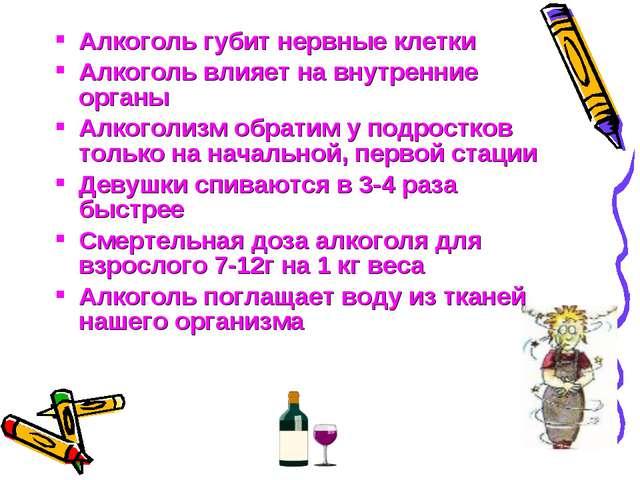 Алкоголь губит нервные клетки Алкоголь влияет на внутренние органы Алкоголизм...