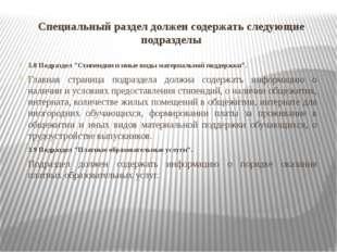 """Специальный раздел должен содержать следующие подразделы 3.8 Подраздел """"Стипе"""