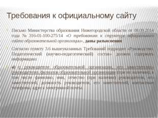 Требования к официальному сайту Письмо Министерства образования Нижегородской