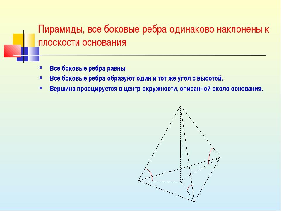 Пирамиды, все боковые ребра одинаково наклонены к плоскости основания Все бок...