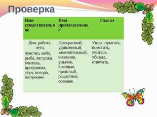 Проверка Имя существительное Имя прилагательное Глагол Дом, работа, лето, ч