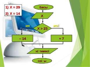 Басы Х Х > 23 – 14 + 7 нәтижесі соңы ия жоқ Х = 29 Х = 14