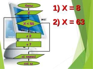 басы Х Х < 50 × 2 + 7 нәтижесі соңы ия жоқ Х = 8 Х = 63