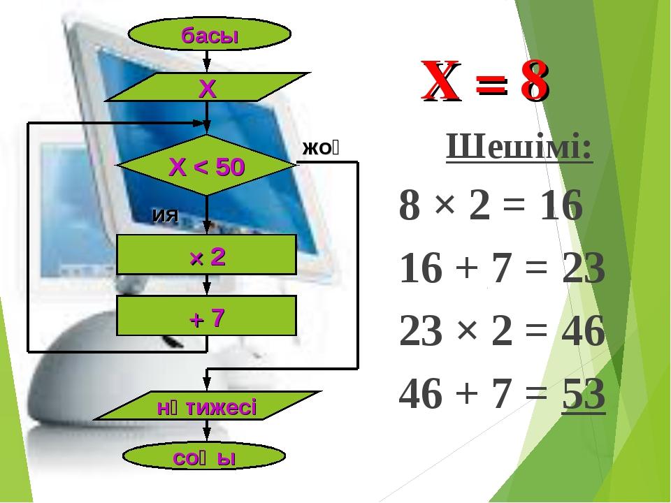 Шешімі: 8 × 2 = 16 16 + 7 = 23 23 × 2 = 46 46 + 7 = 53 басы Х Х < 50 × 2 + 7...