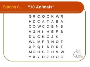 "Station 6. ""10 Animals"" GRCOCKWR  HZCATABA COWCDENB V"