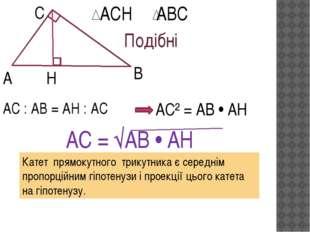 А С В Н АСН АВС Подібні АС : АВ = АН : АС АС² = АВ • АН АС = √АВ • АН Катет