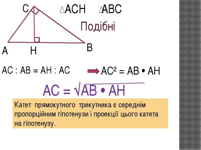 А С В Н АСН АВС Подібні АС : АВ = АН : АС АС² = АВ • АН АС = √АВ • АН Катет...